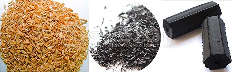 End Products of Rice Husk Charcoal Making Machine